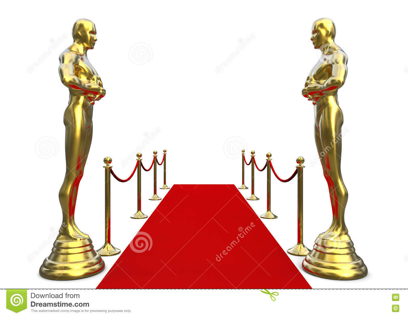 Golden statue with red carpet