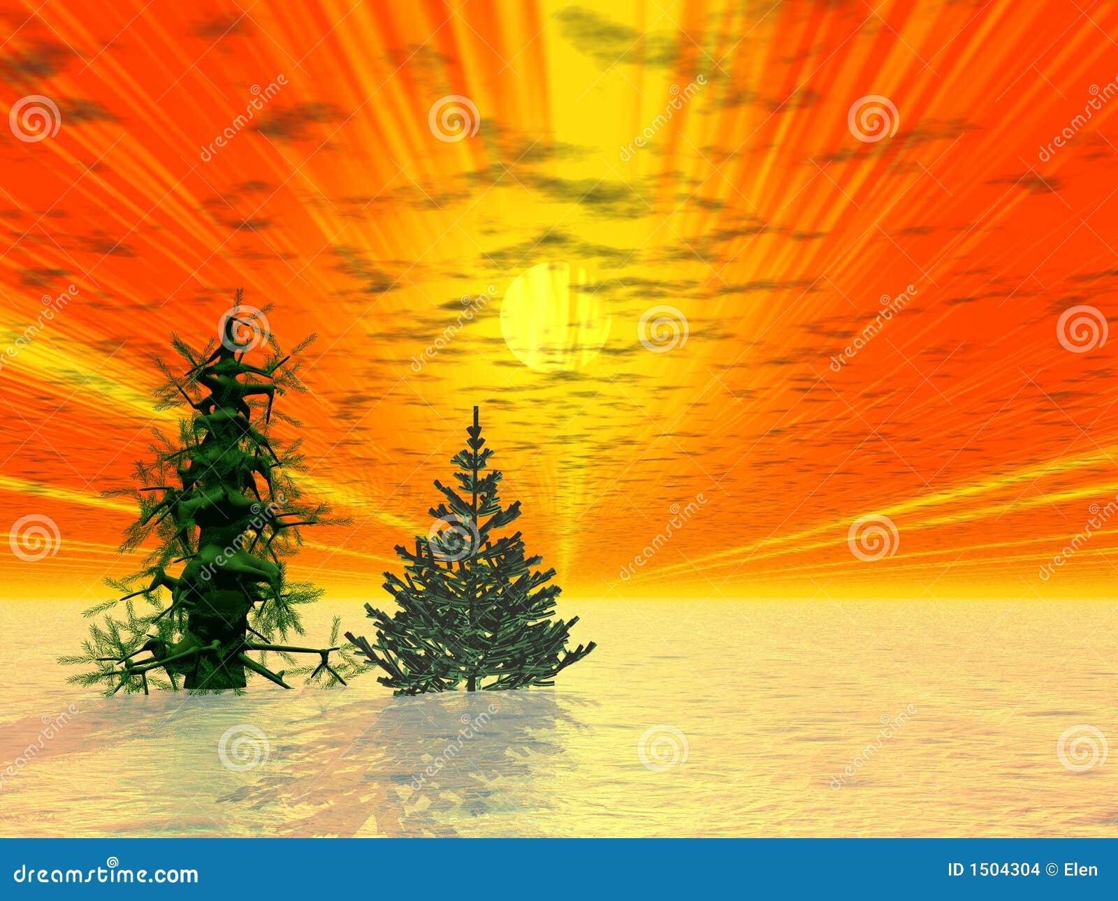Golden sunrise two fir trees stock illustration illustration of
