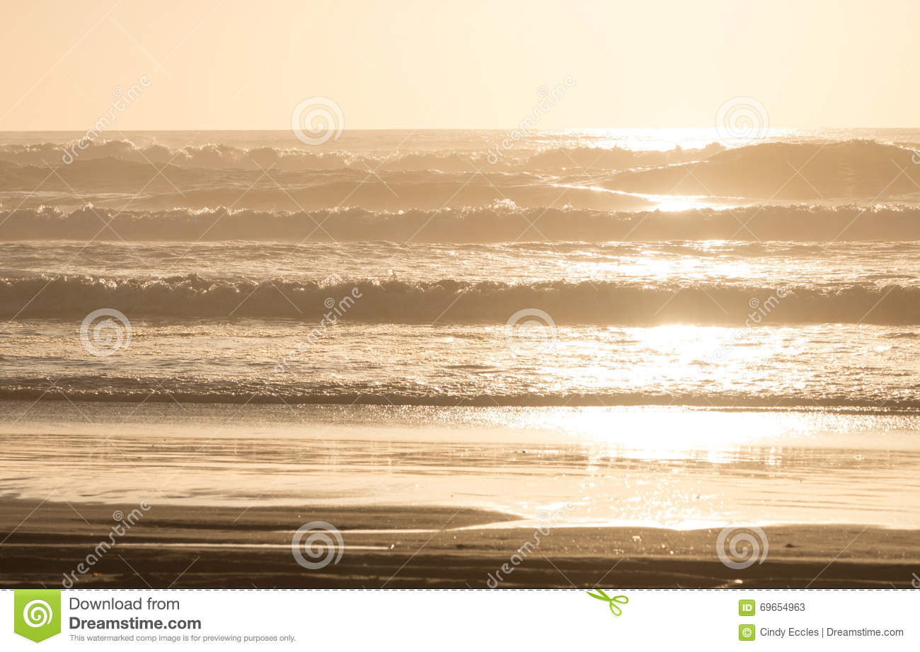 Golden Sunset On Beach With Waves Stock Image Image Of