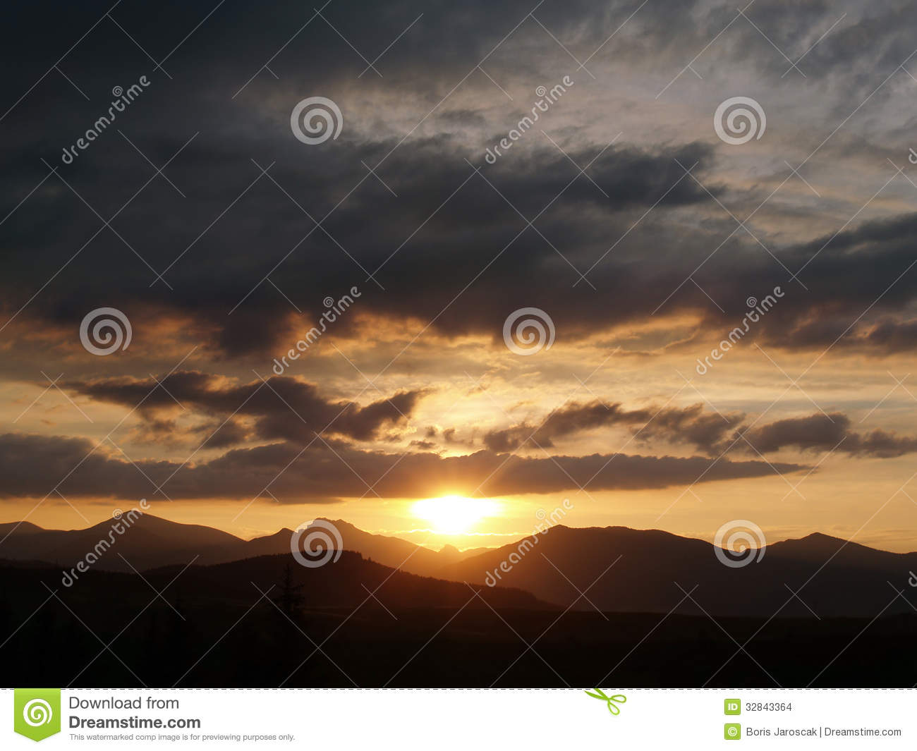 Golden sunset and cloudscape