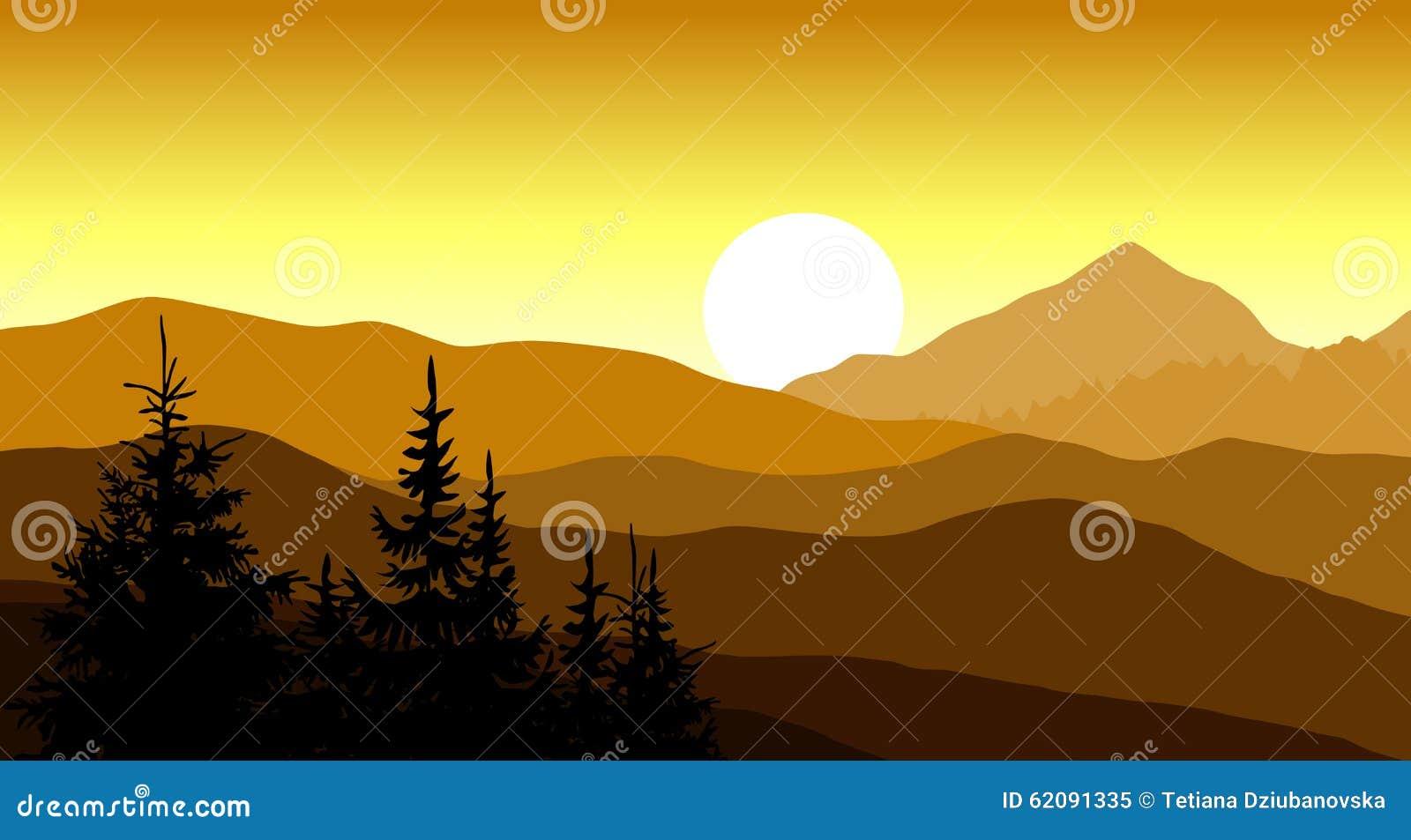golden sunset in the mountains vector illustration illustration rh megapixl com Rocky Mountain Clip Art Mountain Range Clip Art