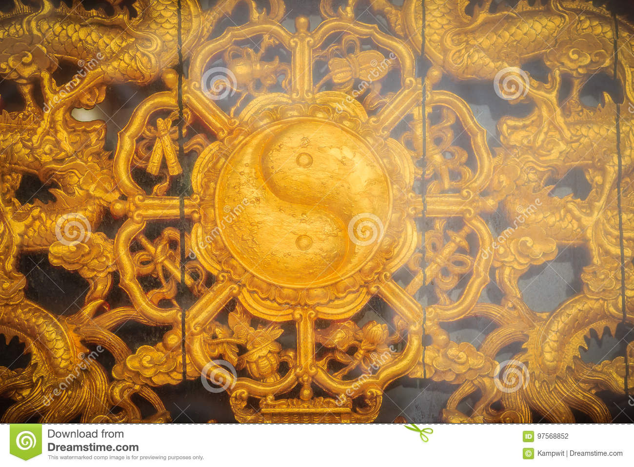 Golden Symbol Of Yin - Yang On The Wall Of Chinese Temple In Tha ...