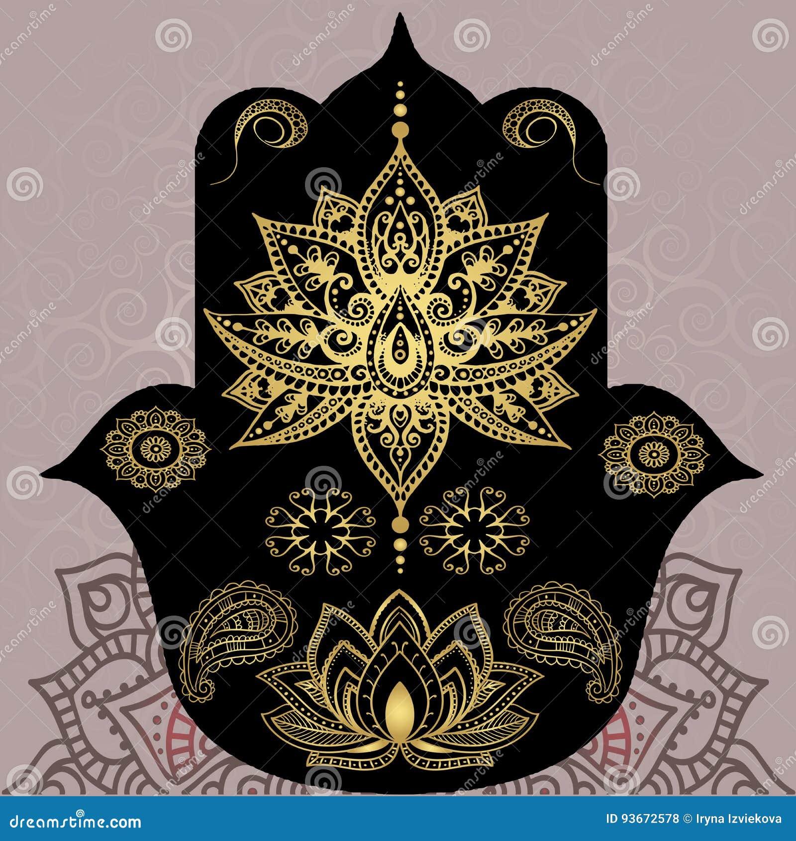 Golden Symbols Of Buddhism Mandala Henna Hamsa Indian Style
