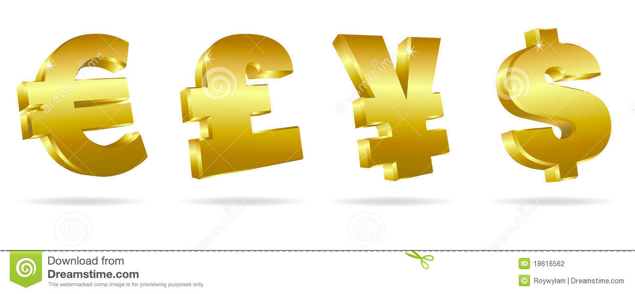 Golden Symbols For Money Stock Photography Image 18616562