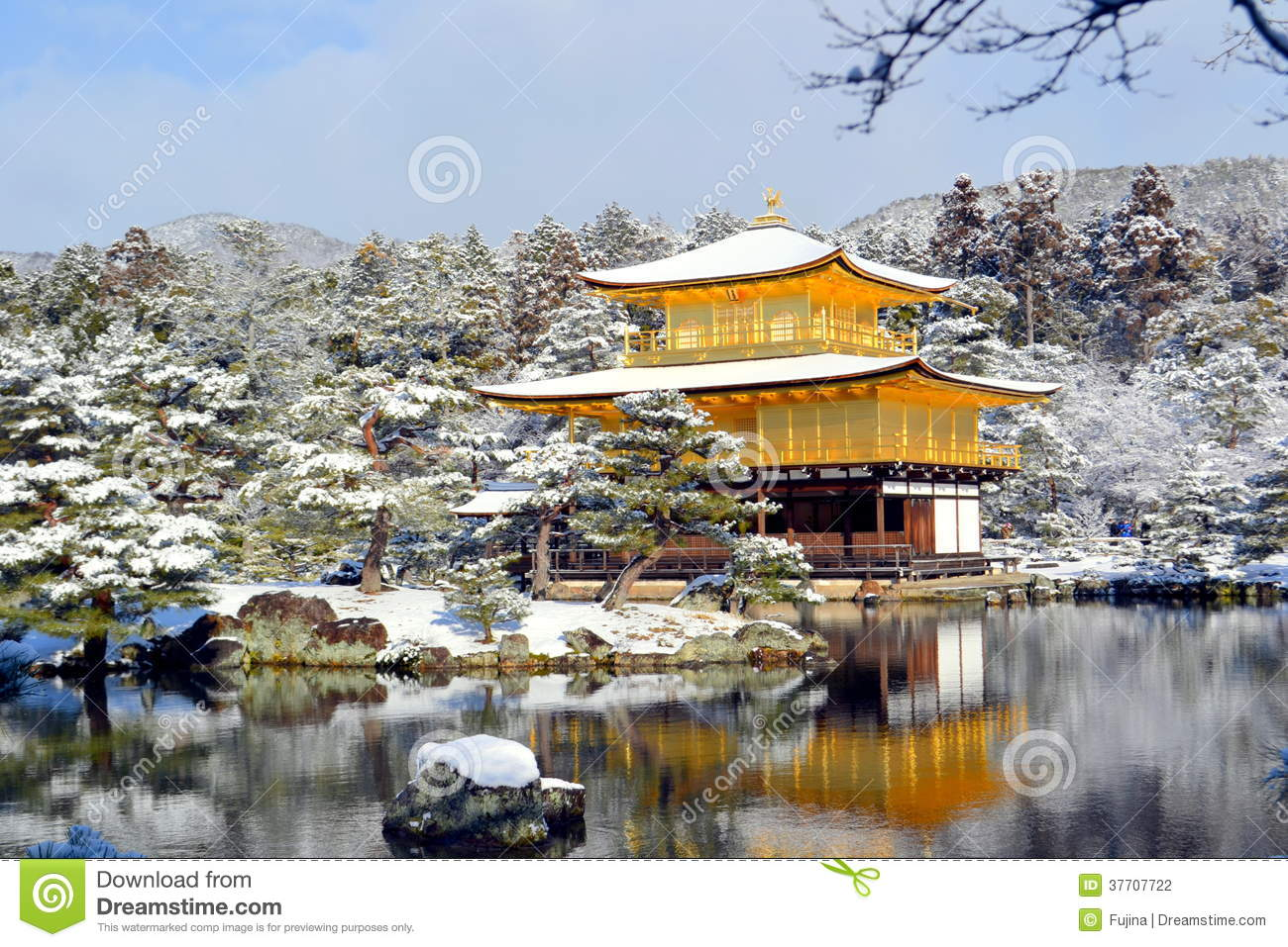 ... taken in a very beautiful snow day at Golden temple in Kyoto, Japan