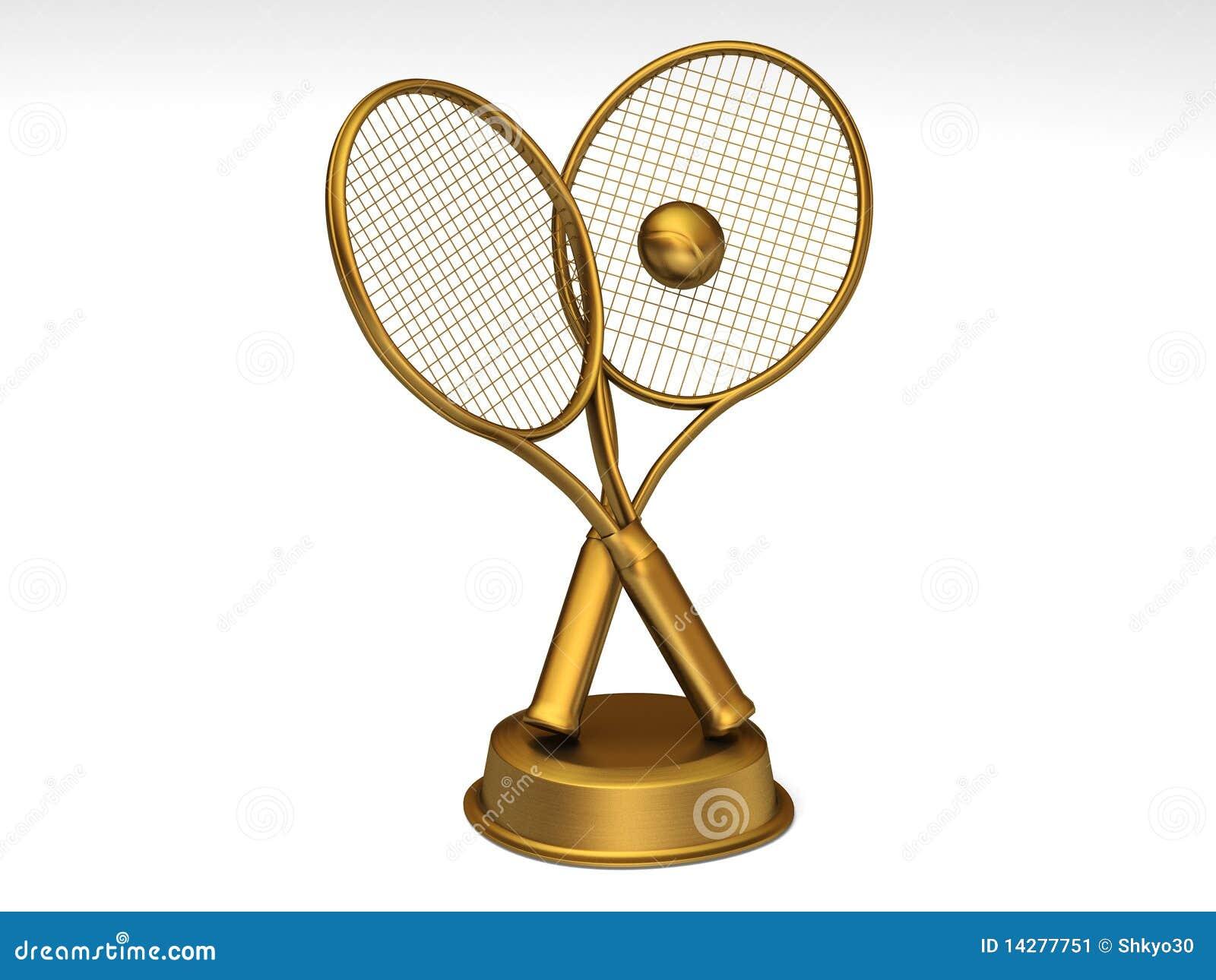Golden Tennis Trophy Stock Image - Image: 14277751