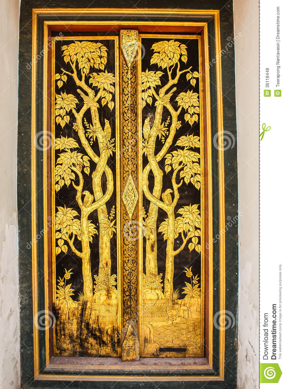 Golden thai Pattern art on door & Golden Thai Pattern Art On Door Stock Photo - Image of detail ...