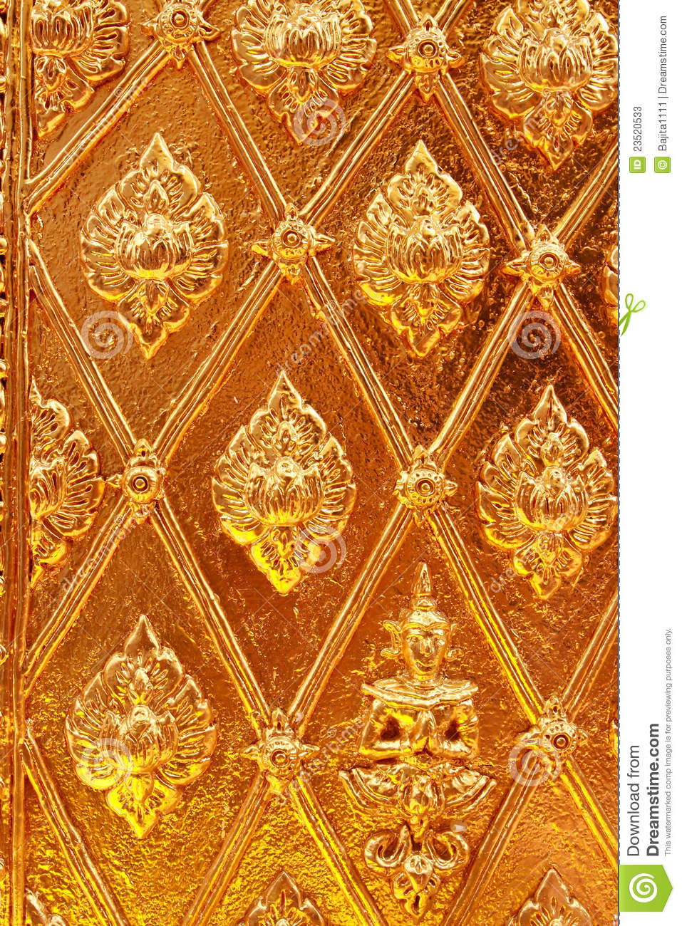 golden thai pattern design on temple wall   stock photos