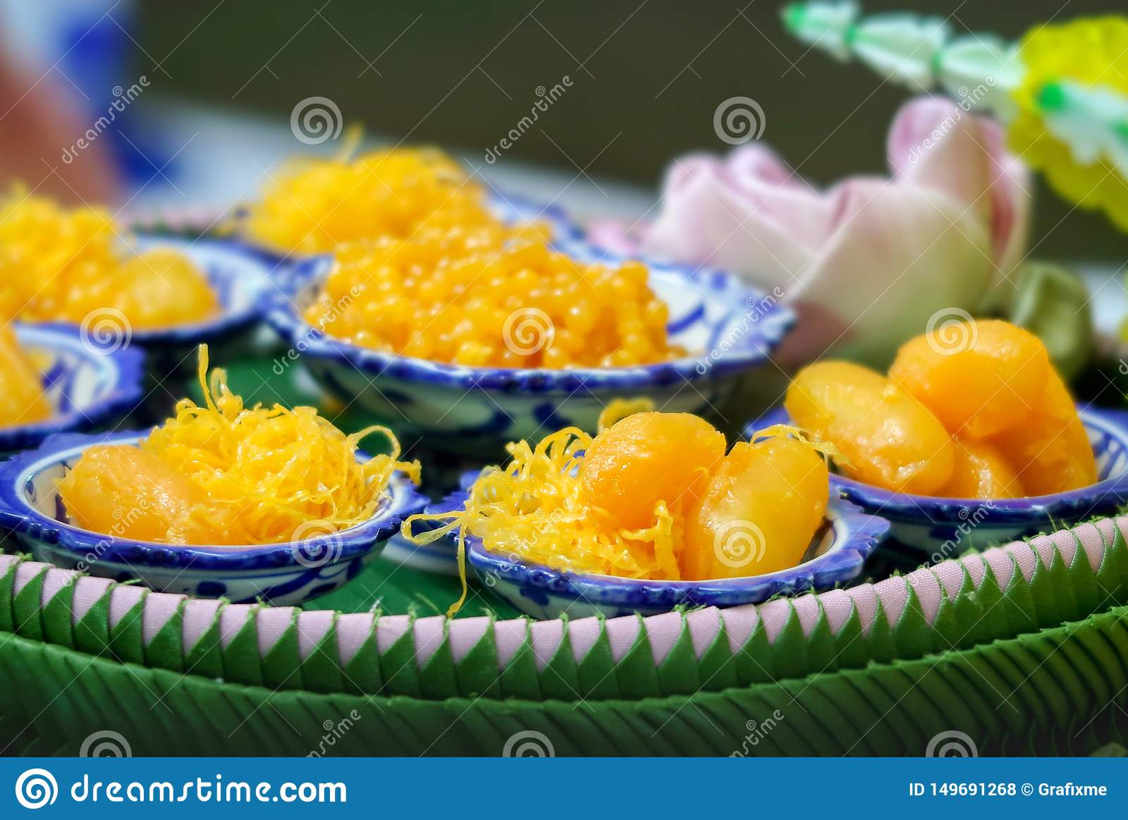 Golden Threads, Med Khanoon or Bean Paste set, Thai sweet desserts