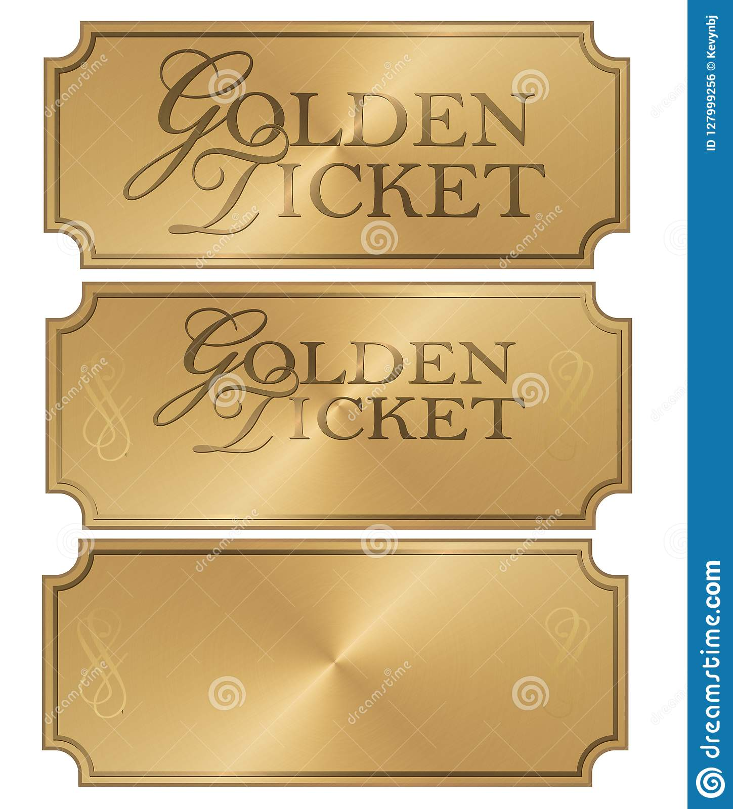 Golden Ticket Art Logo Stub Coupon Template Elegant Blank Scroll Award Prize Pass Shiny Gold
