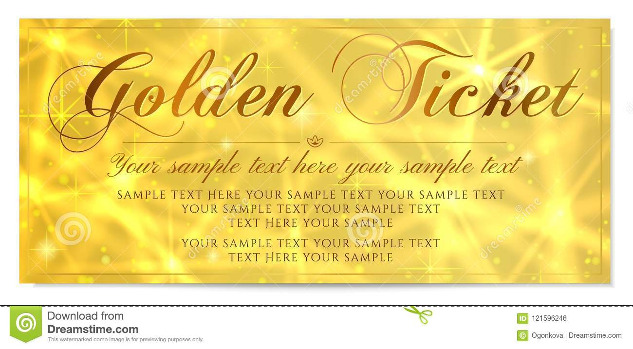 golden ticket gold ticket tear off vector template design with star