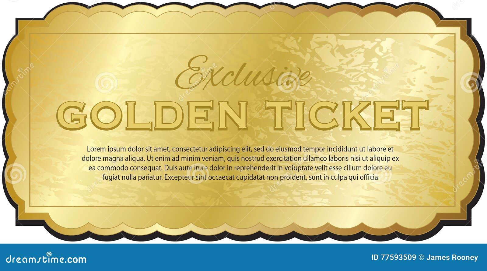 Golden ticket stock vector illustration of performance for Golden ticket template editable