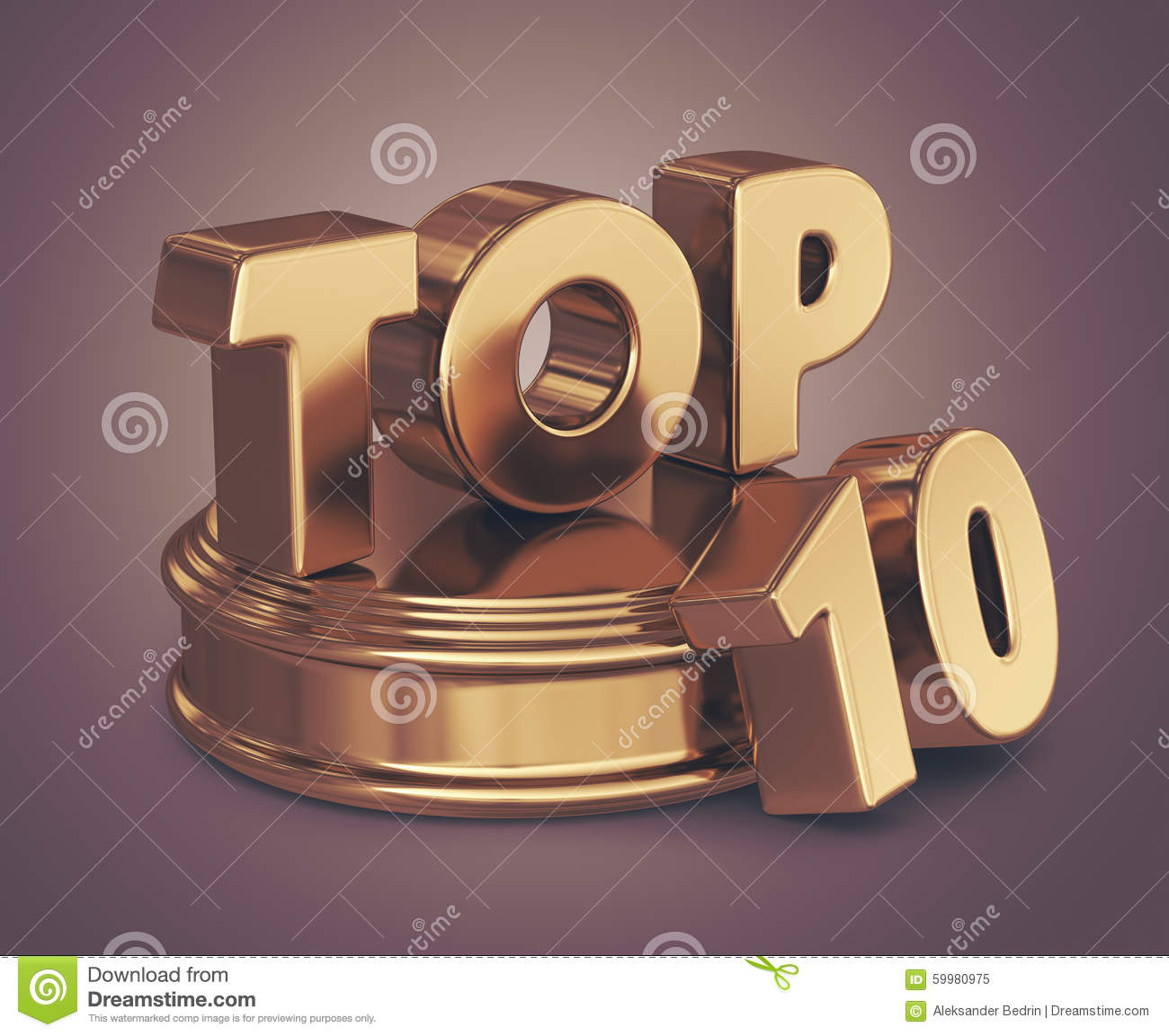 golden top 10 on podium  3d icon royalty