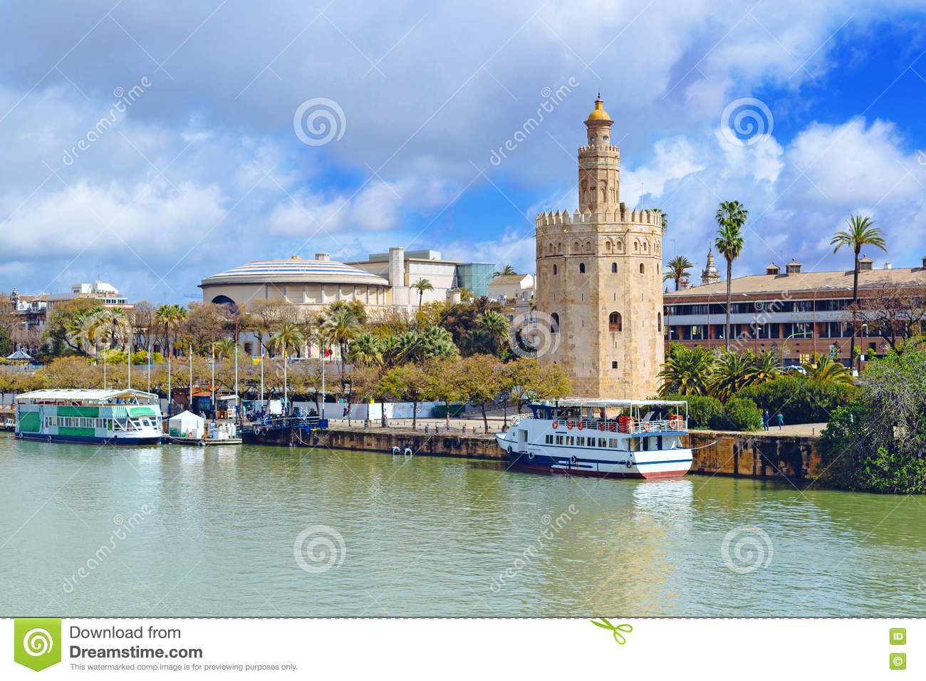 Golden tower along the Guadalquivir river in Seville, Andalusia, Spain, Europe