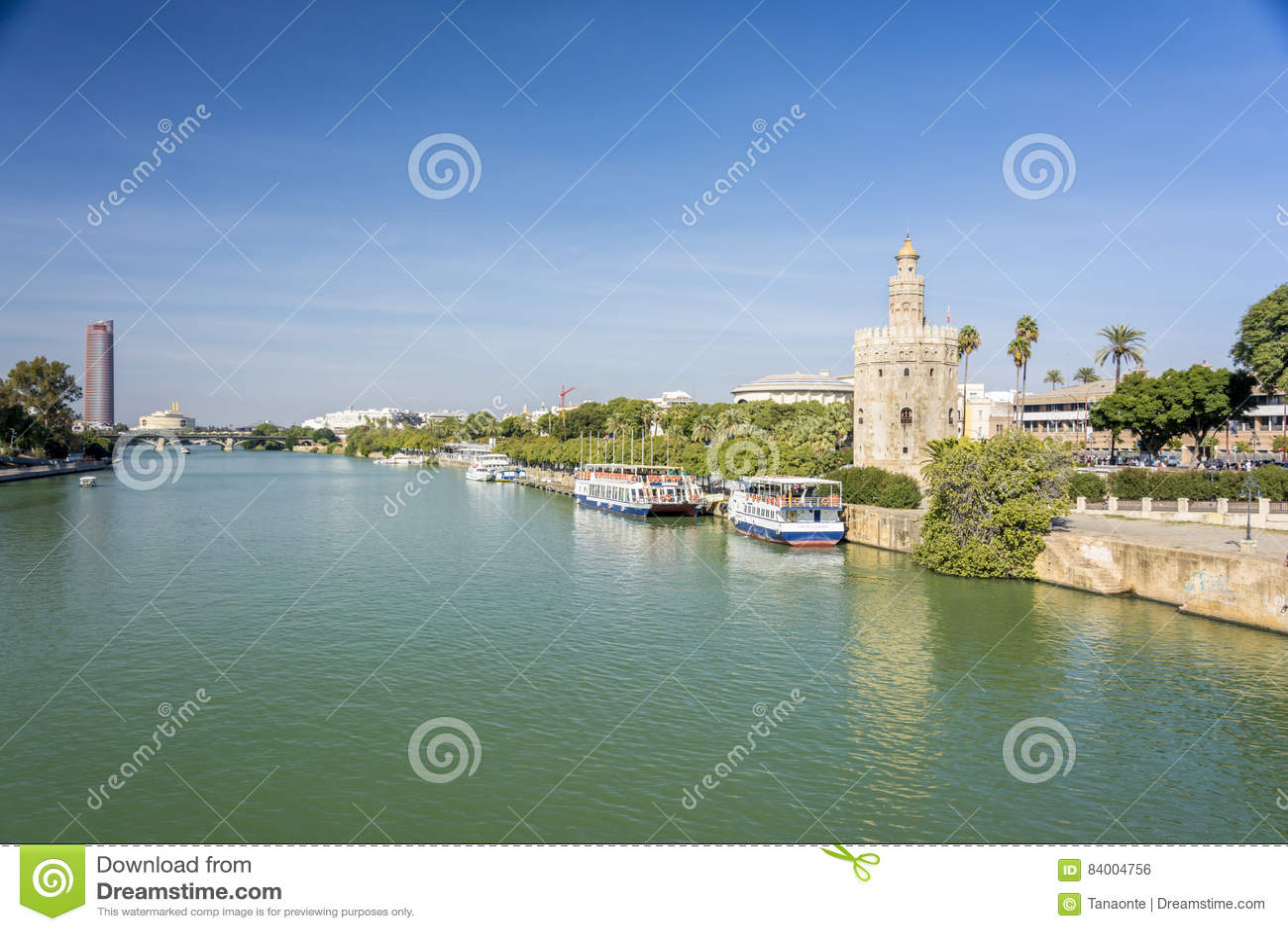 Golden tower or Torre del Oro, along the Guadalquivir river, Seville, Spain.