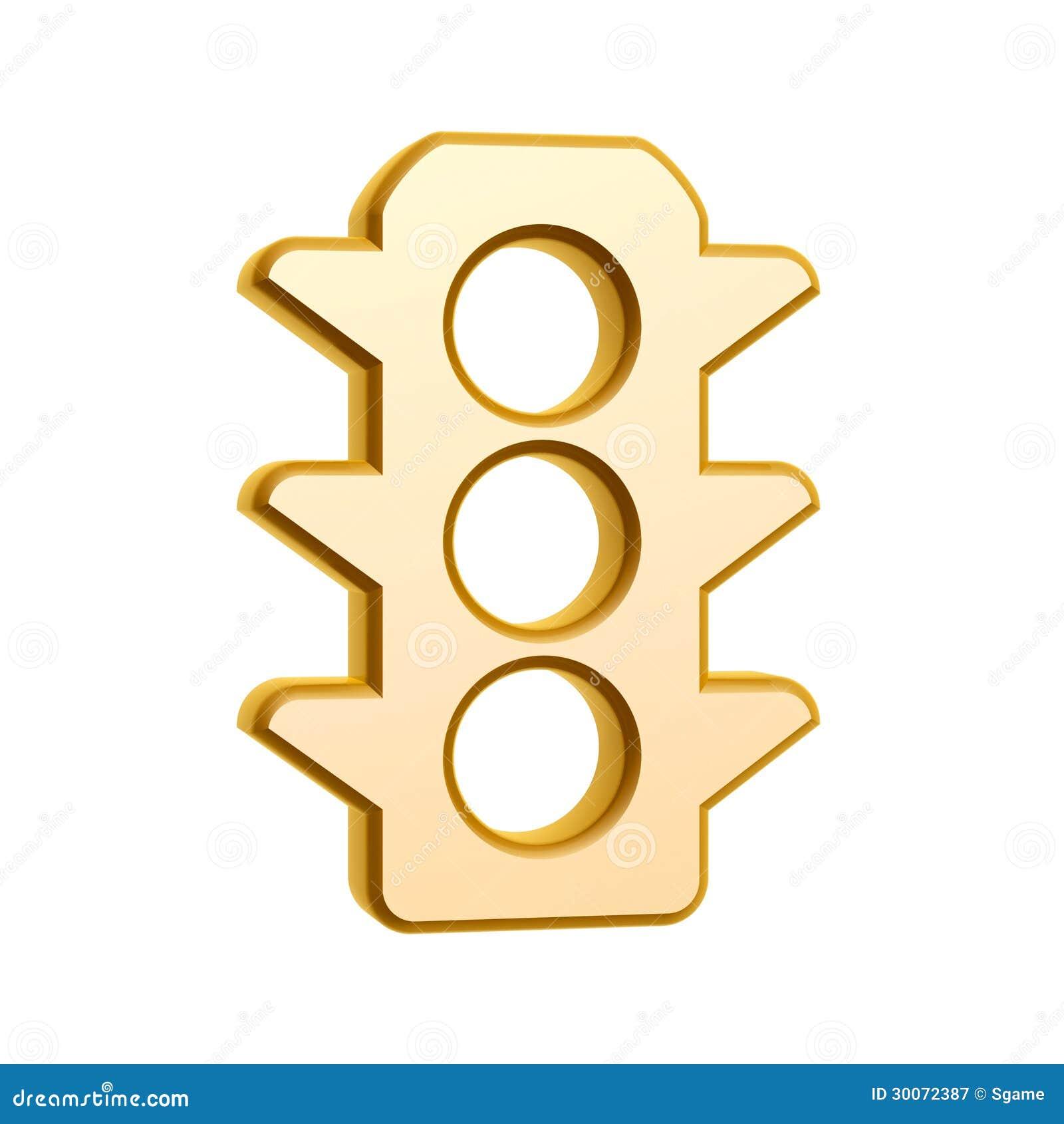 Golden Traffic Light Symbol Stock Illustration Illustration Of