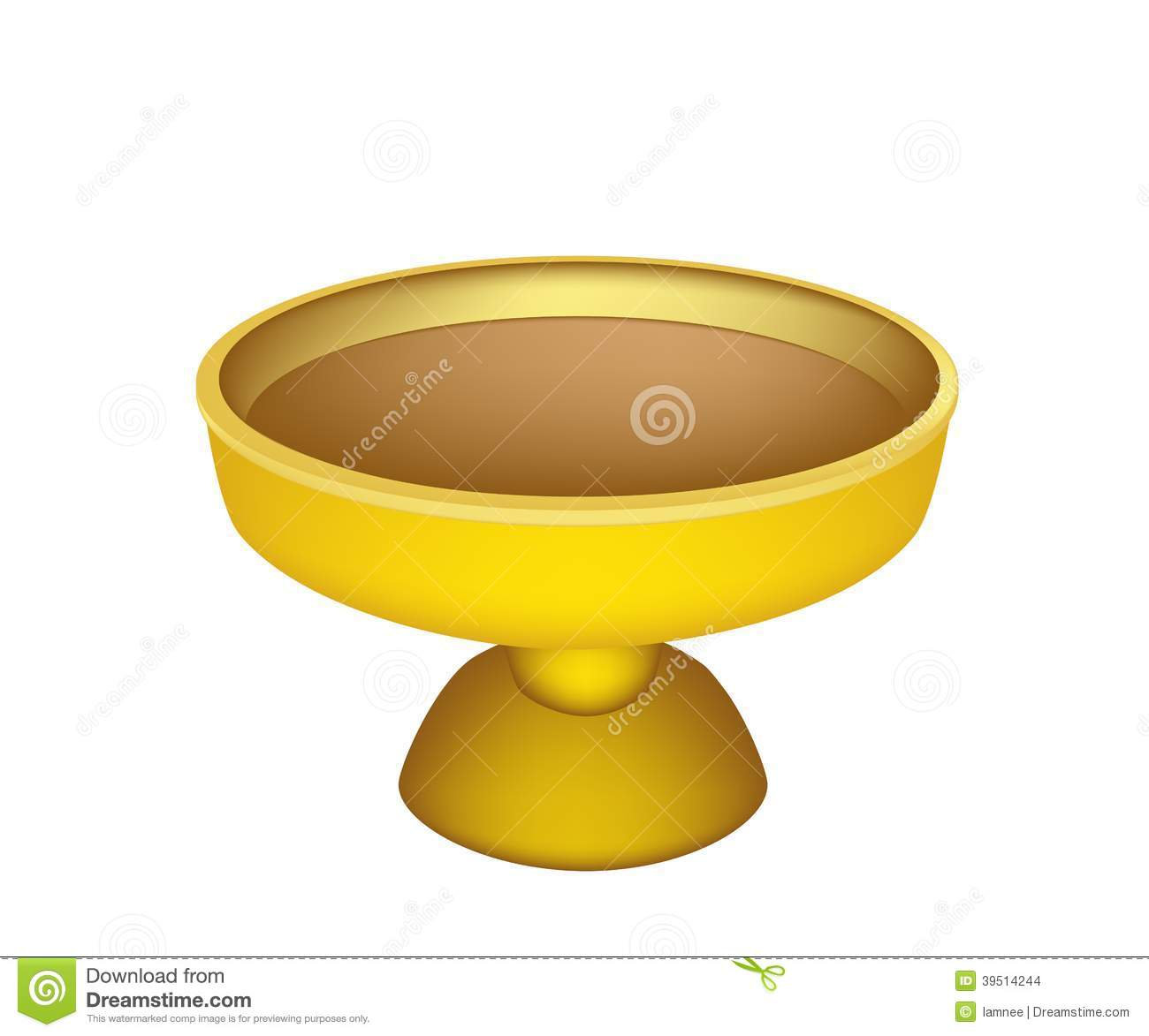 A Golden Tray with Pedestal on White Background