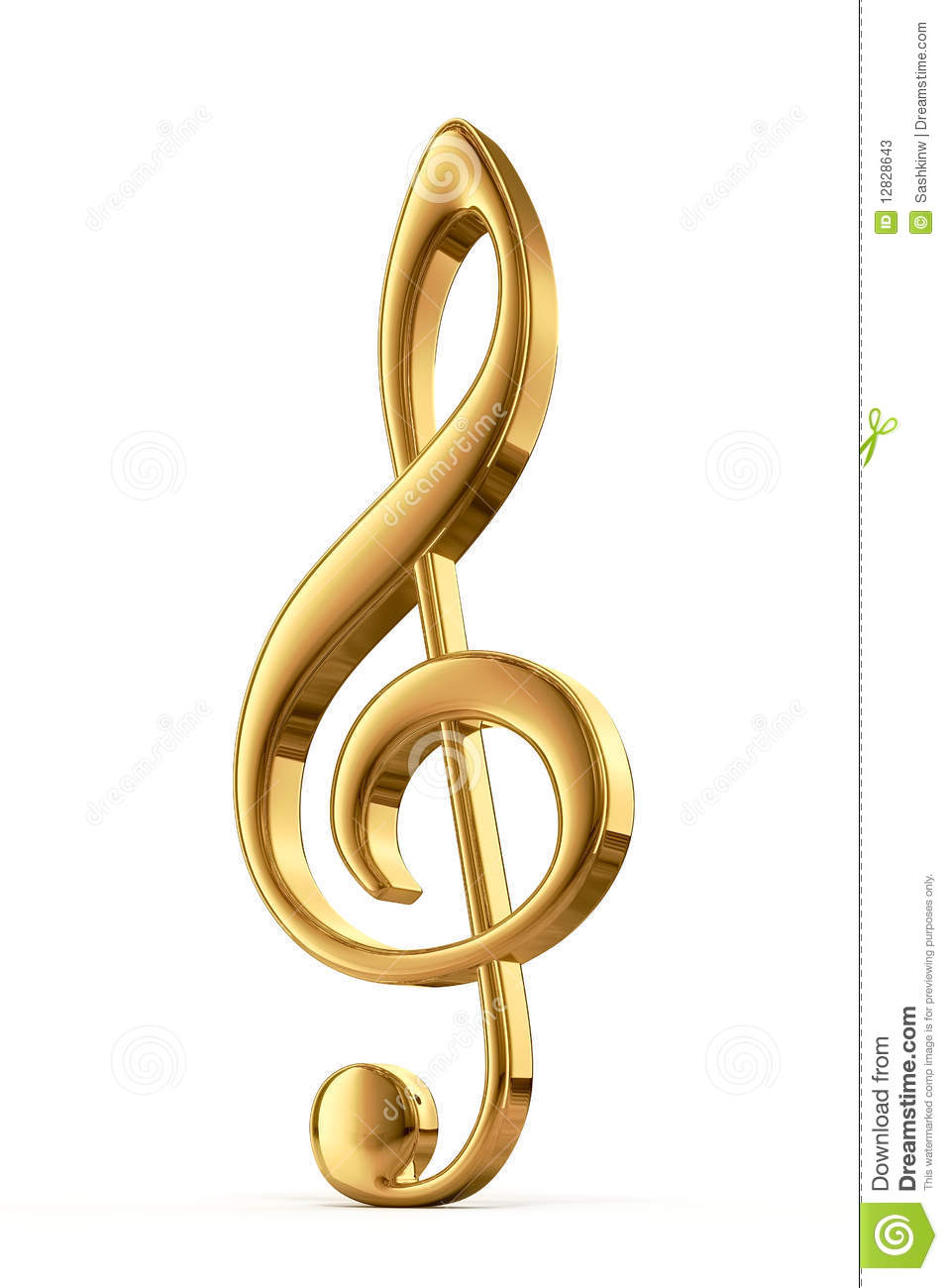 Golden Treble Clef Stock Photos - Image: 12828643