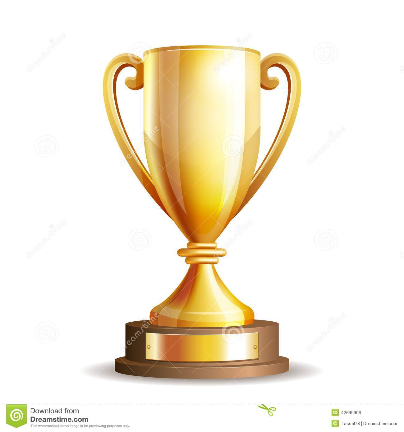 Golden trophy cup isolated on white background. Vector illustration.