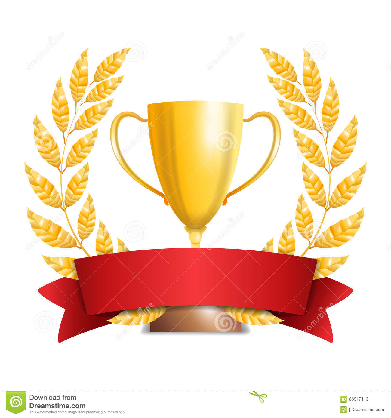 Red Ribbon And A Golden Trophy Cup Royalty Free Stock Image Cartoondealer Com 5055454