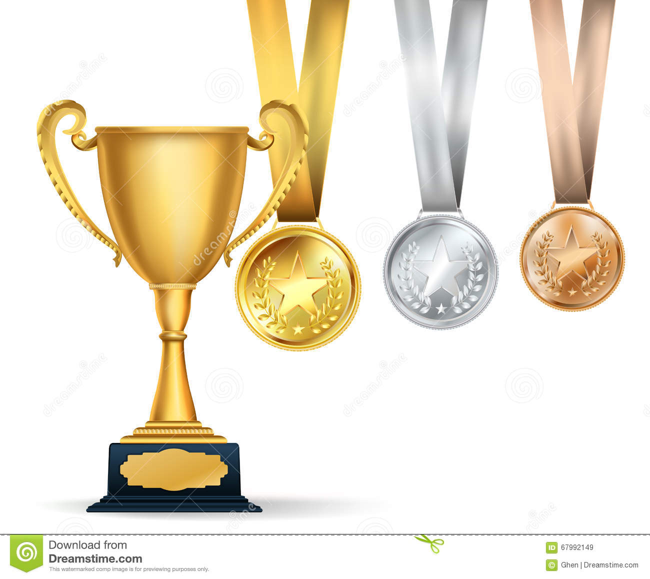 Golden trophy cup and set of medals with ribbons on white How to design a trophy