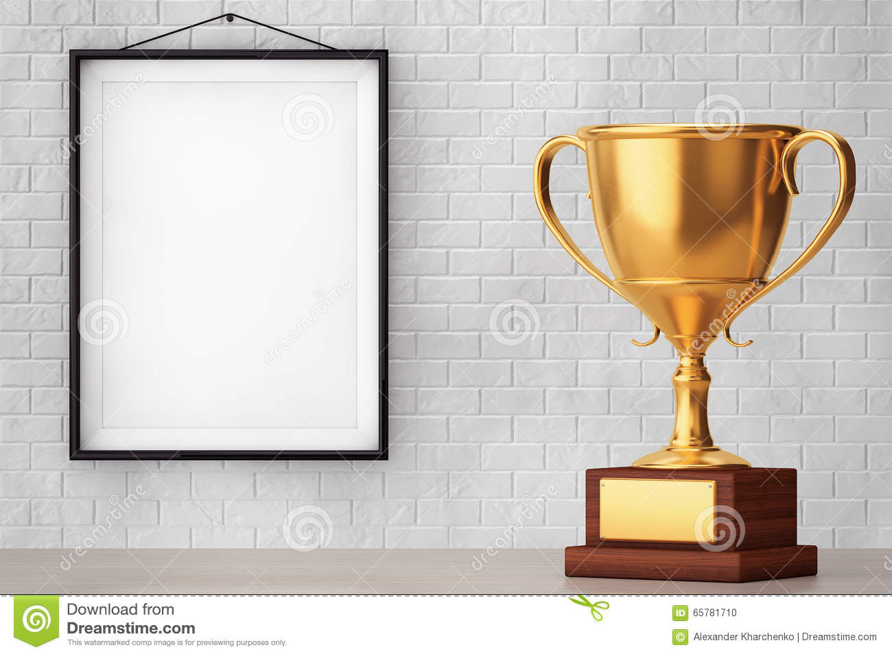Golden Trophy In Front Of Brick Wall With Blank Frame Stock Photo ...