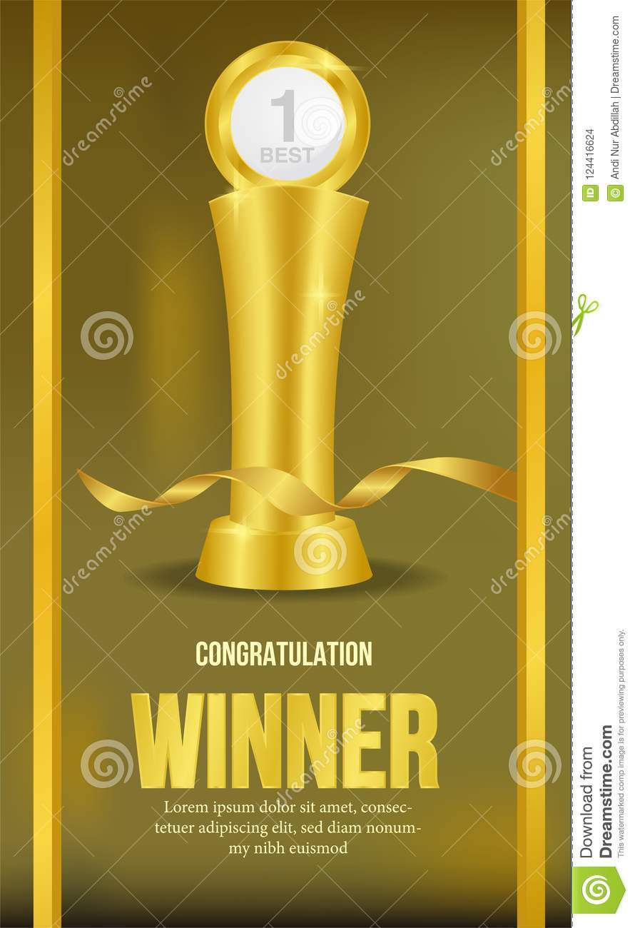 golden trophy with golden background and golden ribbon