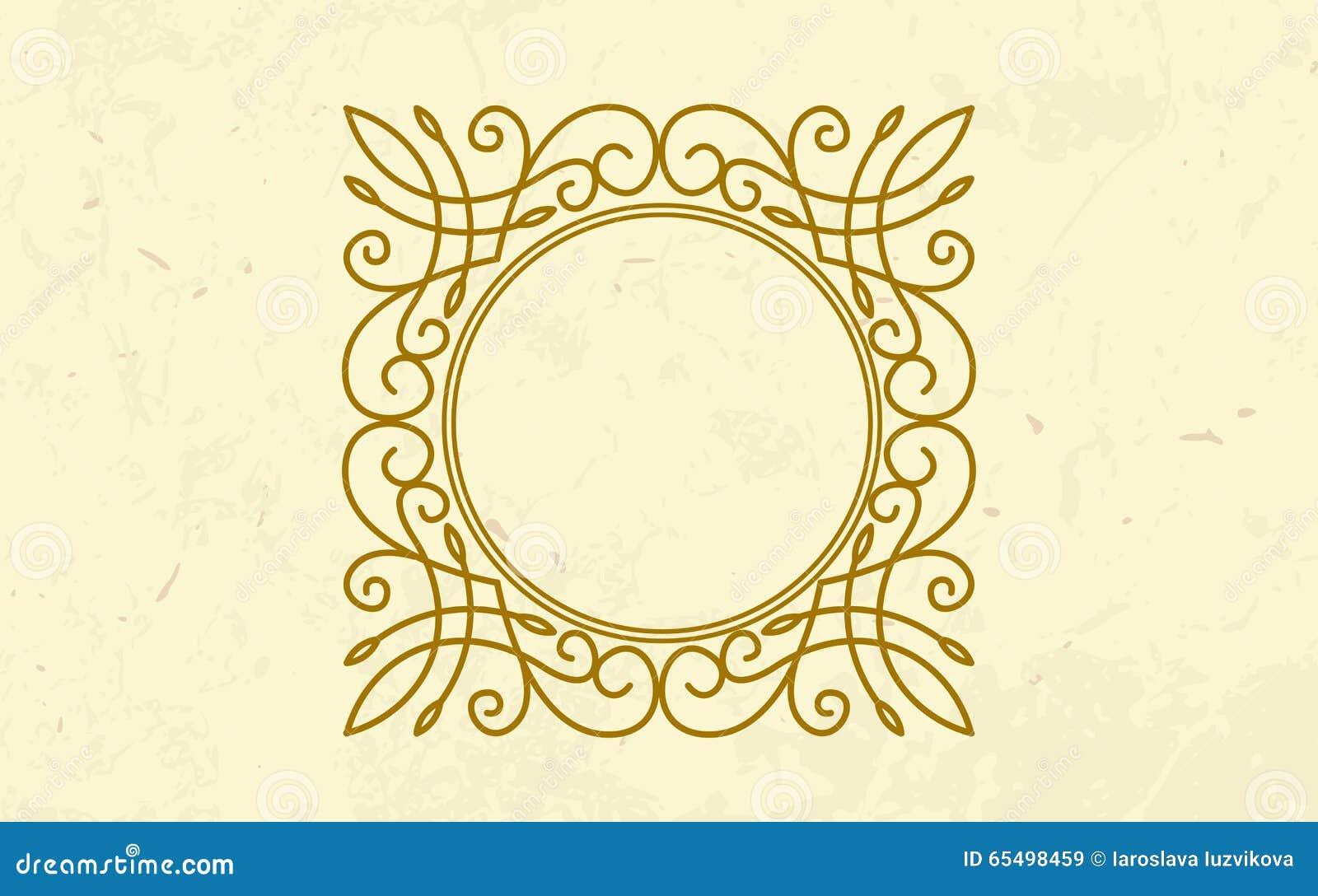 Golden Twirl Round Luxury Frame Elegant Design Stock
