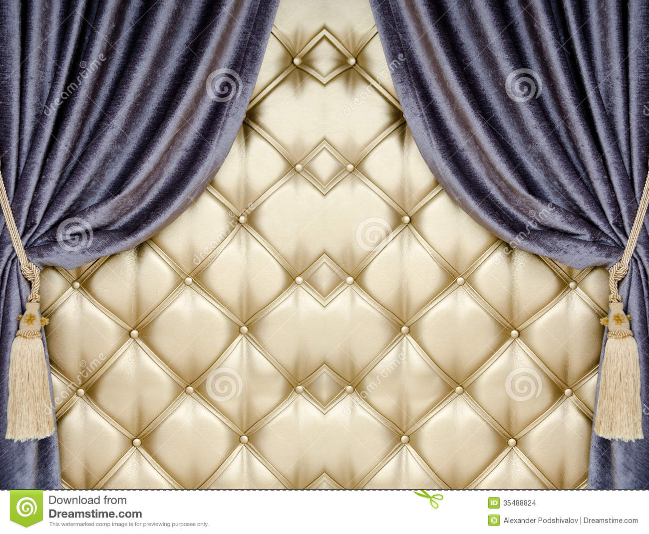 Golden Upholstery Velvet Curtain Background Stock Photo