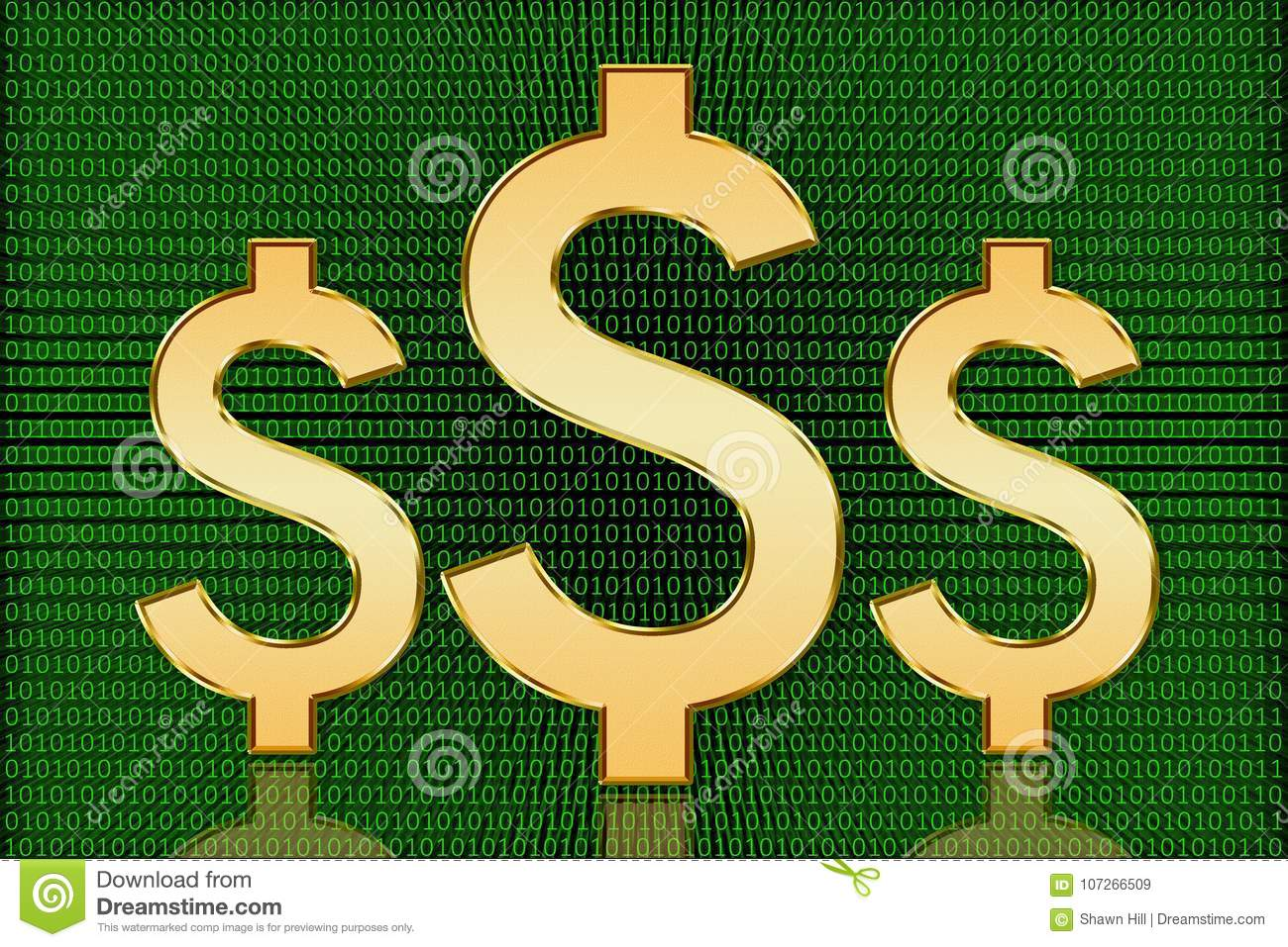 Golden Us Digital Dollar Symbols Digital Currency Stock