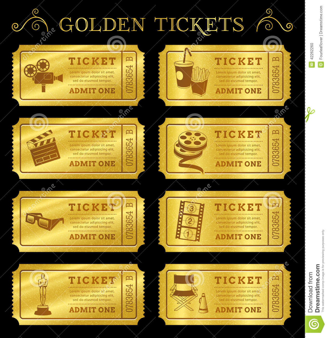 Stock Illustration Golden Vector Cinema Tickets Set Eight Coupons Templates File Organized Layers To Separate Graphic Elements Image42262260 on free printable movie ticket templates
