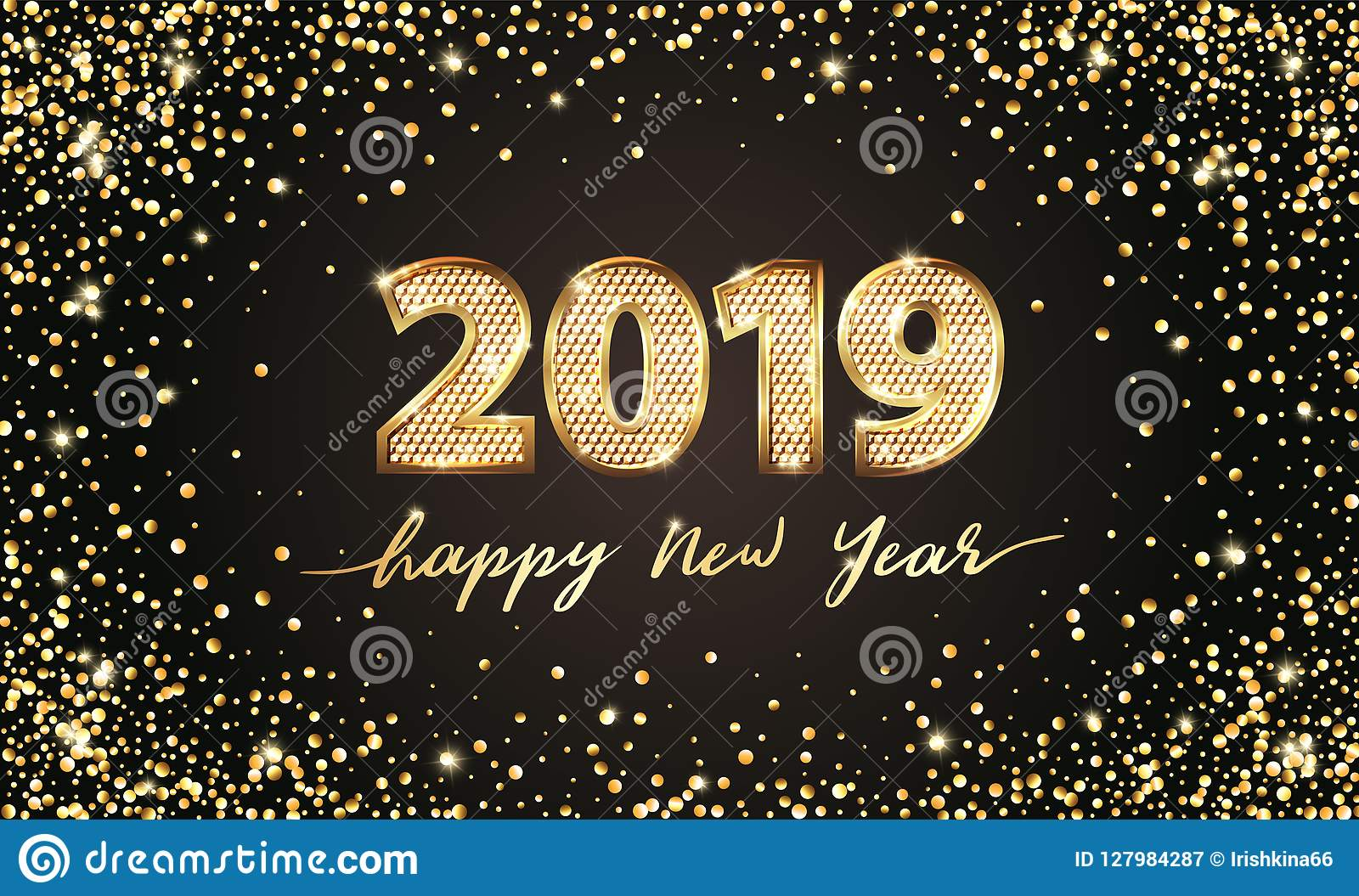 golden vector luxury text 2019 happy new year gold festive numbers design gold glitter