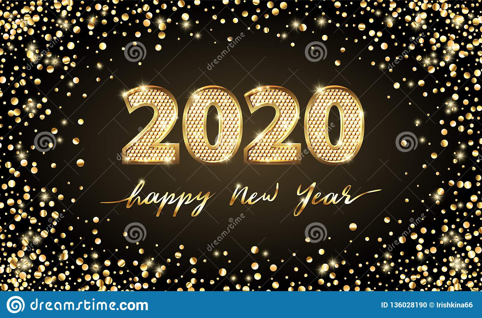 Golden Vector luxury text 2020 Happy new year. Gold Festive Numbers Design. Gold glitter confetti. Banner 2020 Digits