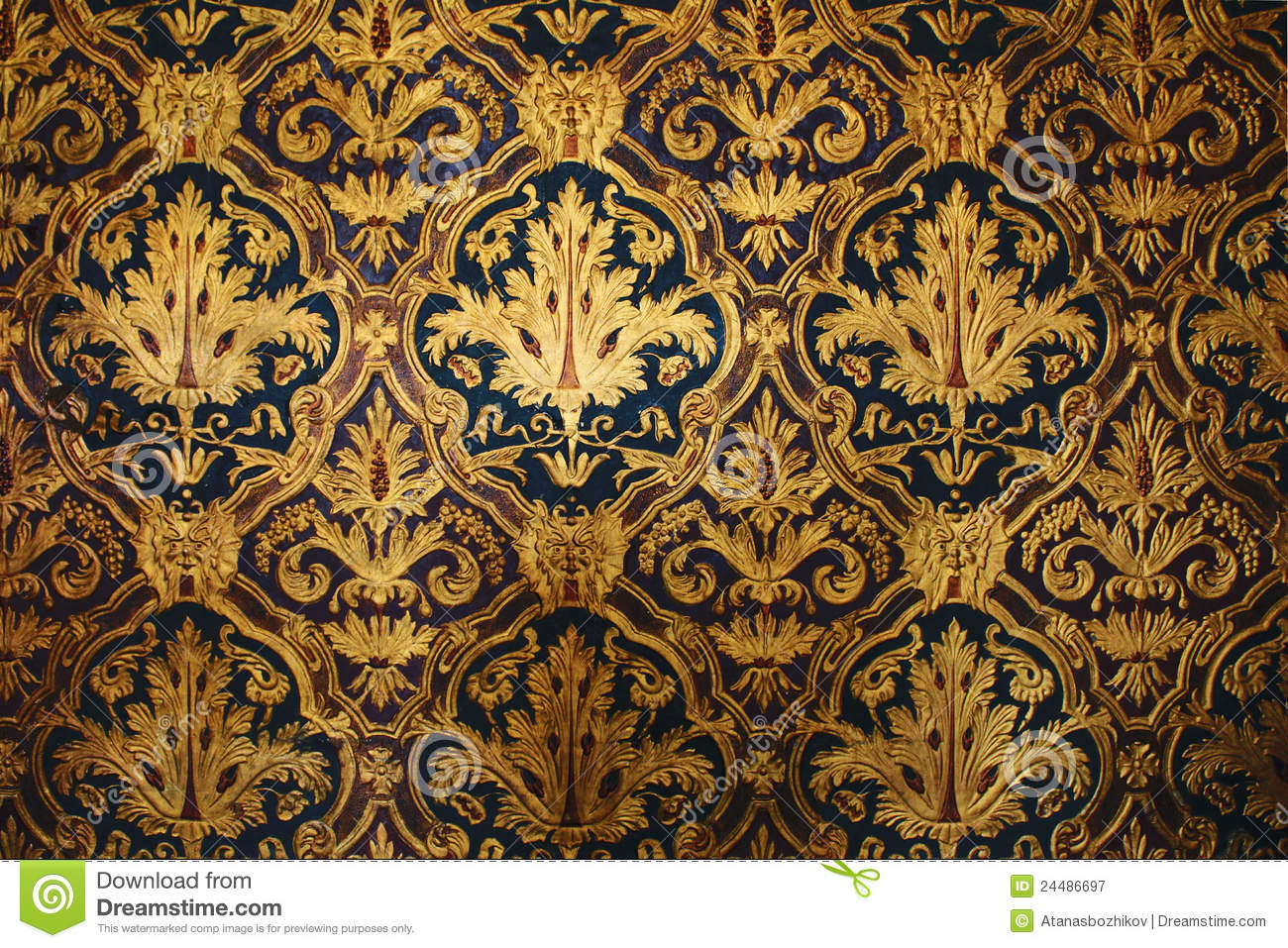 Golden Victorian Wallpaper Royalty Free Stock Photography - Image ...