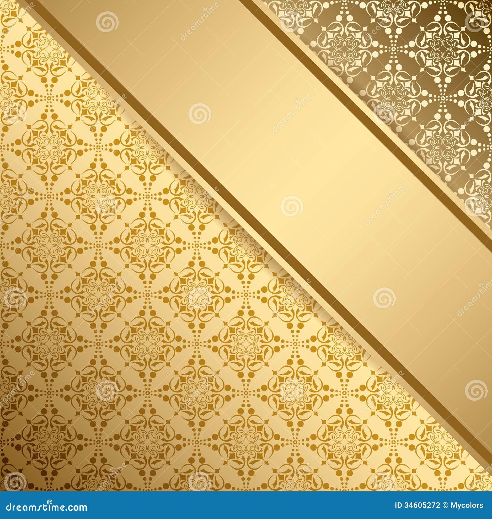 Golden Vector Vintage Background With Gradient Stock