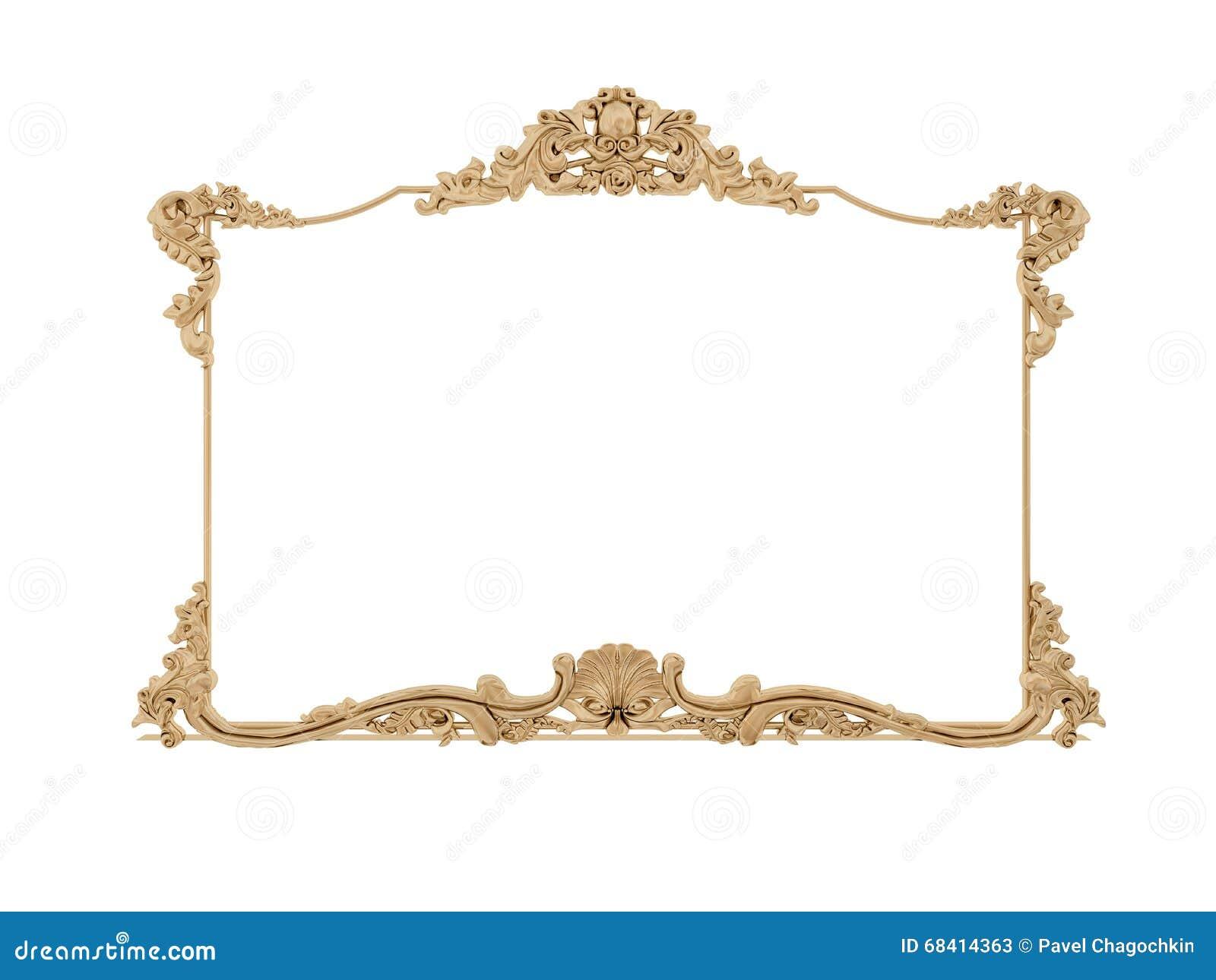 Golden Vintage Frame. Isolate Mirror. Design Retro Element ...