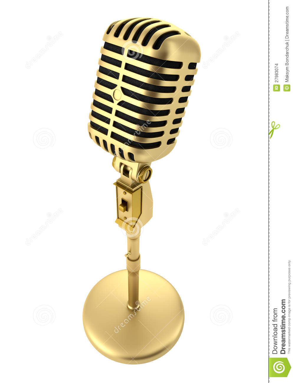 Golden Vintage Microphone Isolated On White Stock Images