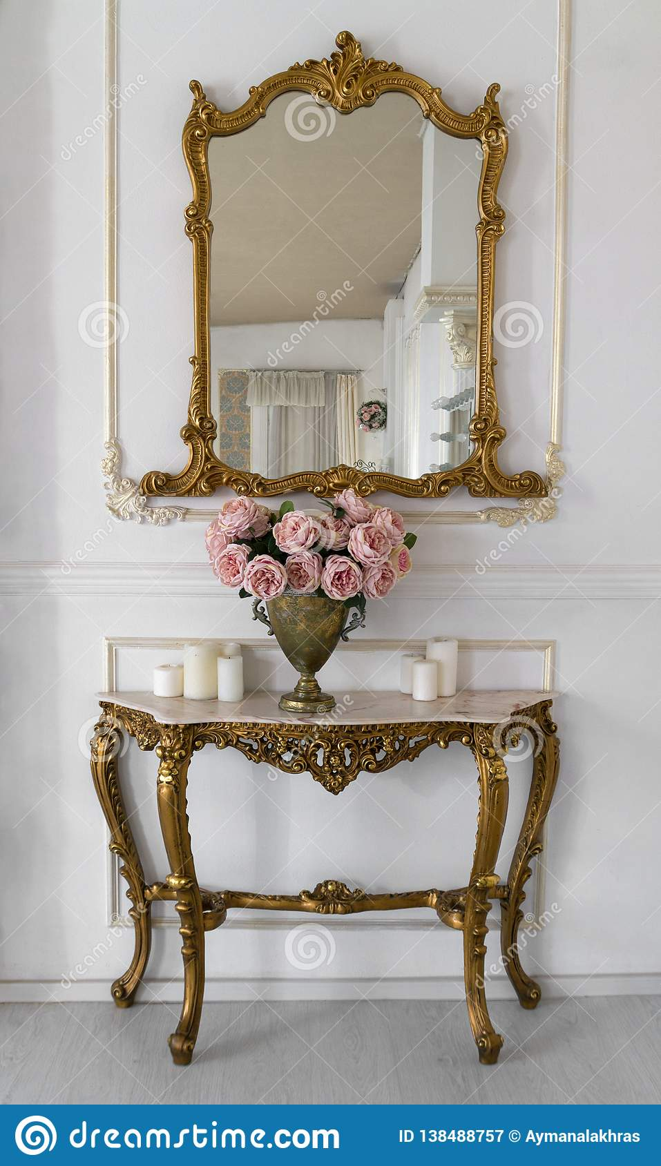 Golden Vintage Vanity Mirror And Golden Table Stock Image Image Of Home Carved 138488757