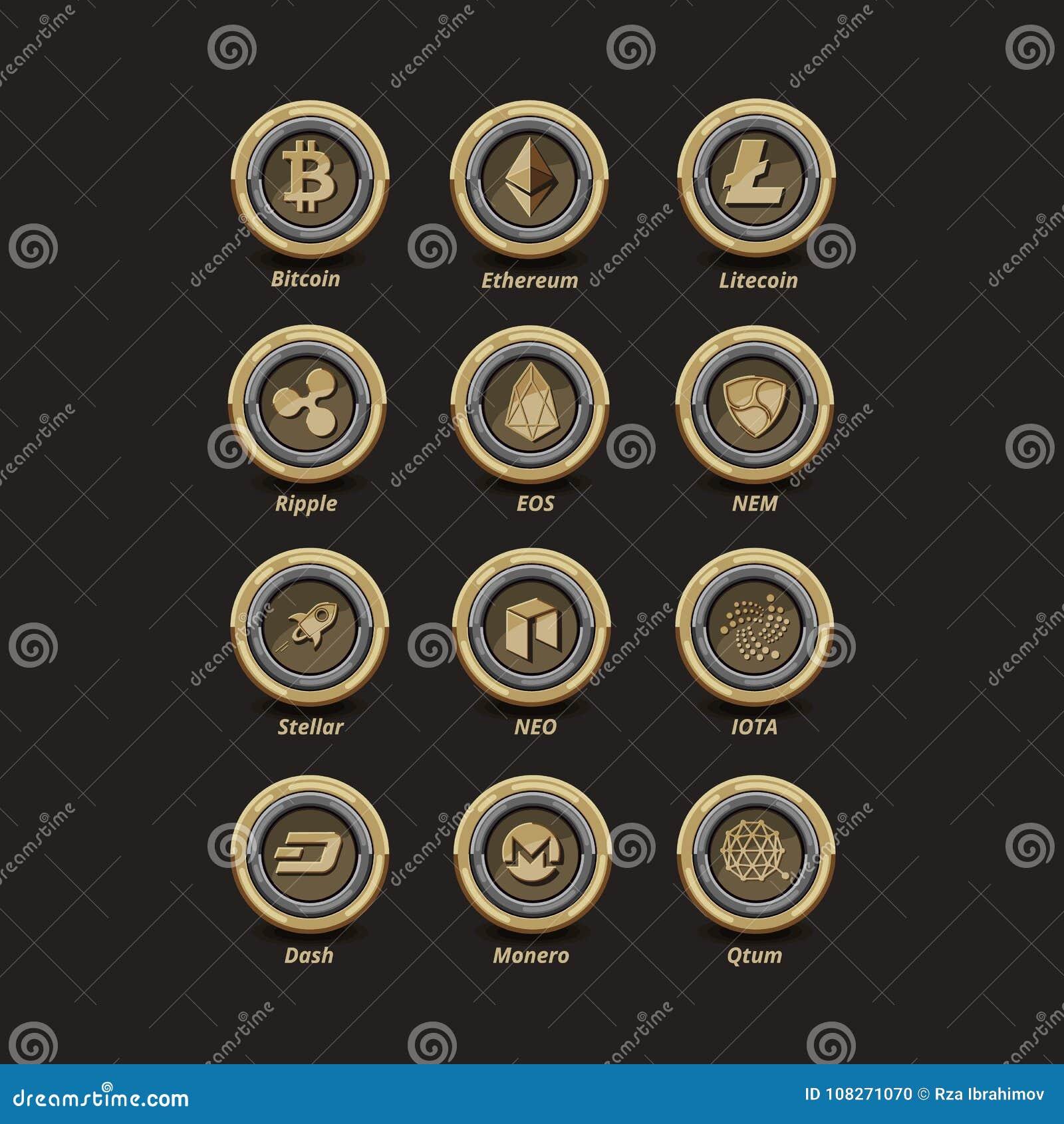 12 Golden virtual money coins