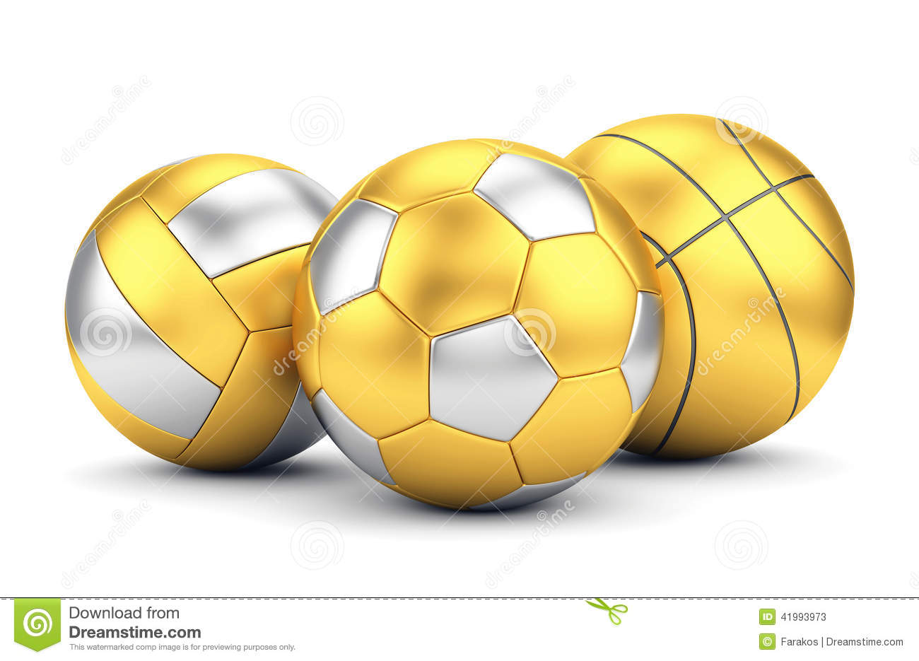 game and award concept. Golden volleyball, basketball and soccerball ...