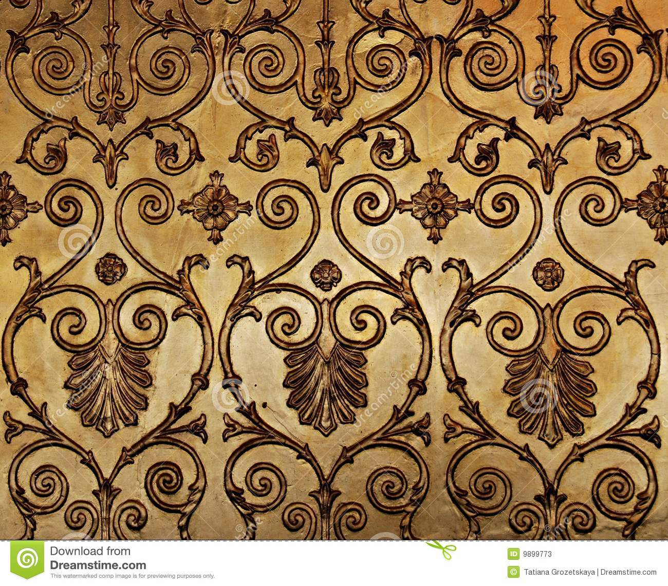 Golden Wall Stock Image Of Closeup Pattern Ornament