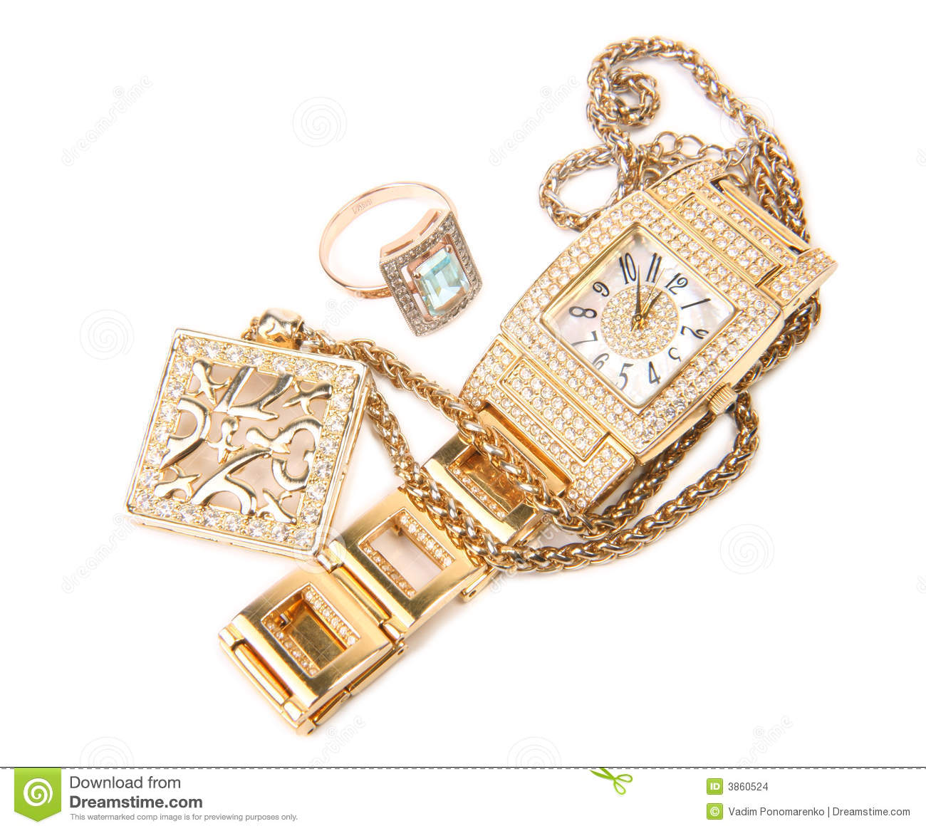 Golden watch, ring and necklace.