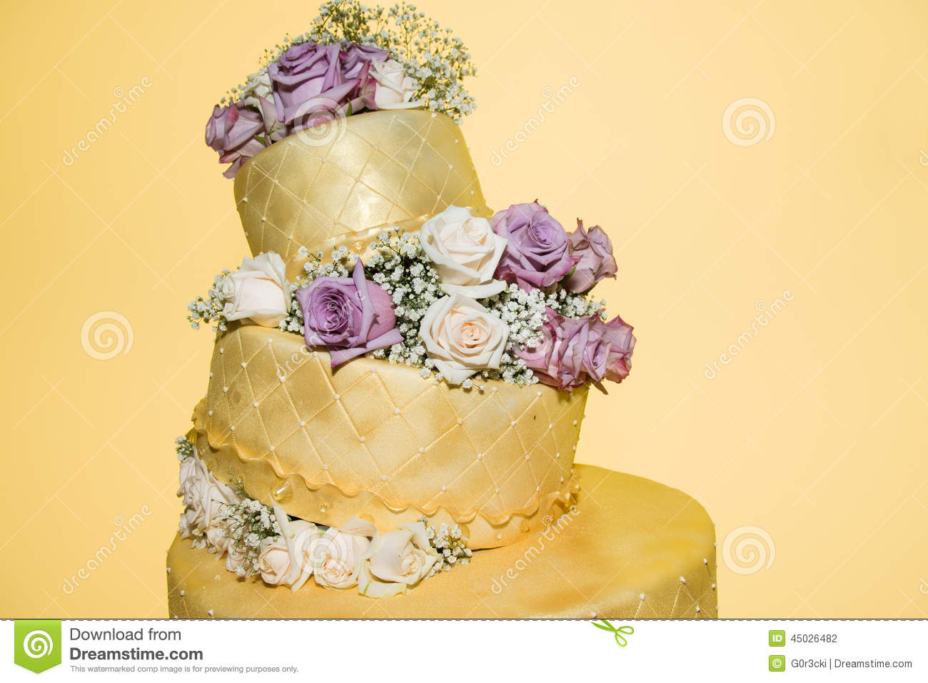 Golden Wedding Cake With Real Roses Stock Photo - Image of cream ...