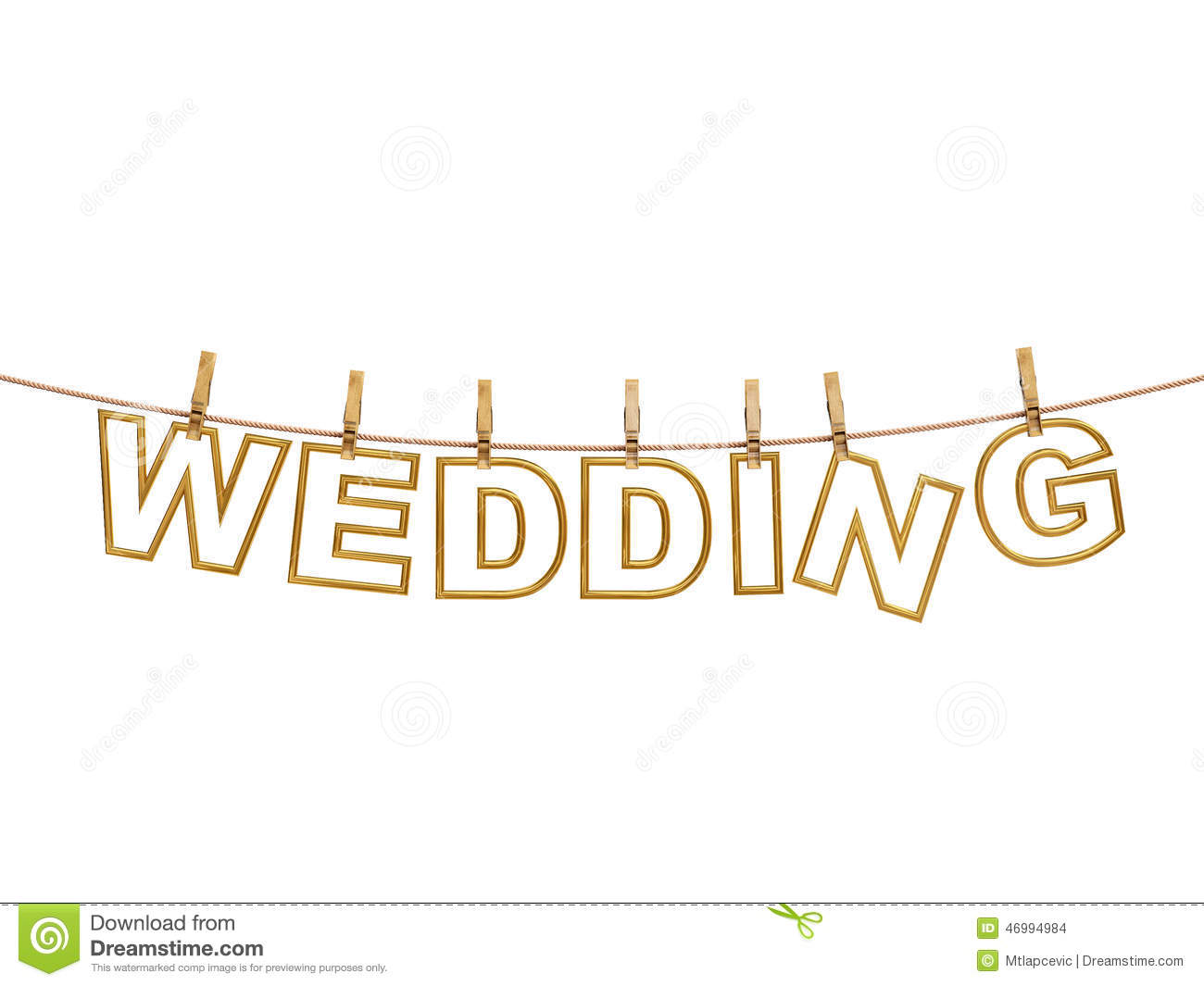 Golden Wedding Letters Hanging On Rope With Clothespins Isolated On White Wedding Invitation