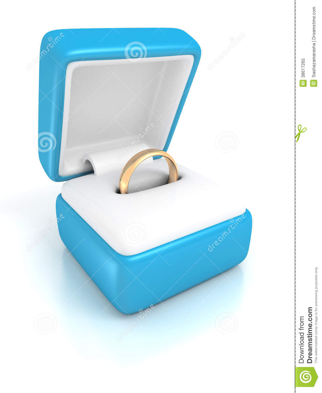 golden wedding ring in a blue jewelry box royalty free