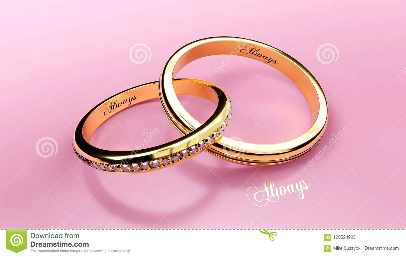 pair of golden rings joined together forever with engraved love word