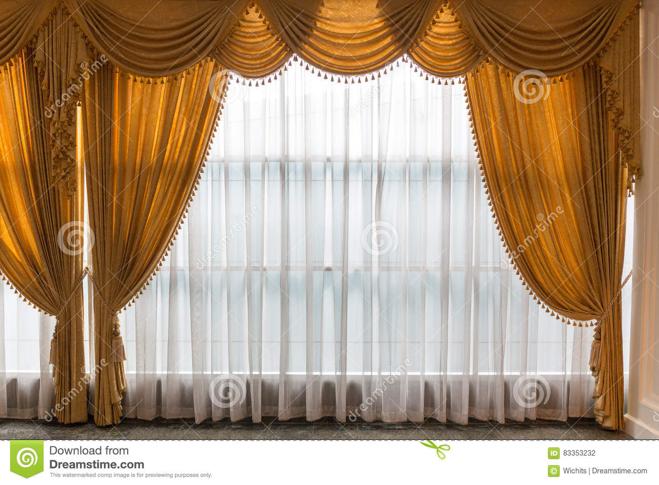 Golden And White Curtains Stock Photo Image Of Bright 83353232