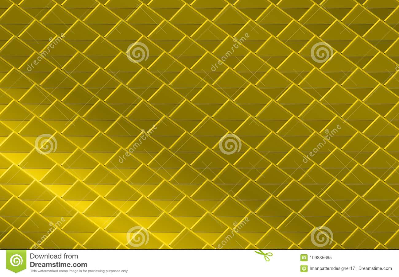 Golden Yellow Metallic Abstract Background Of Triangles And Squares ...