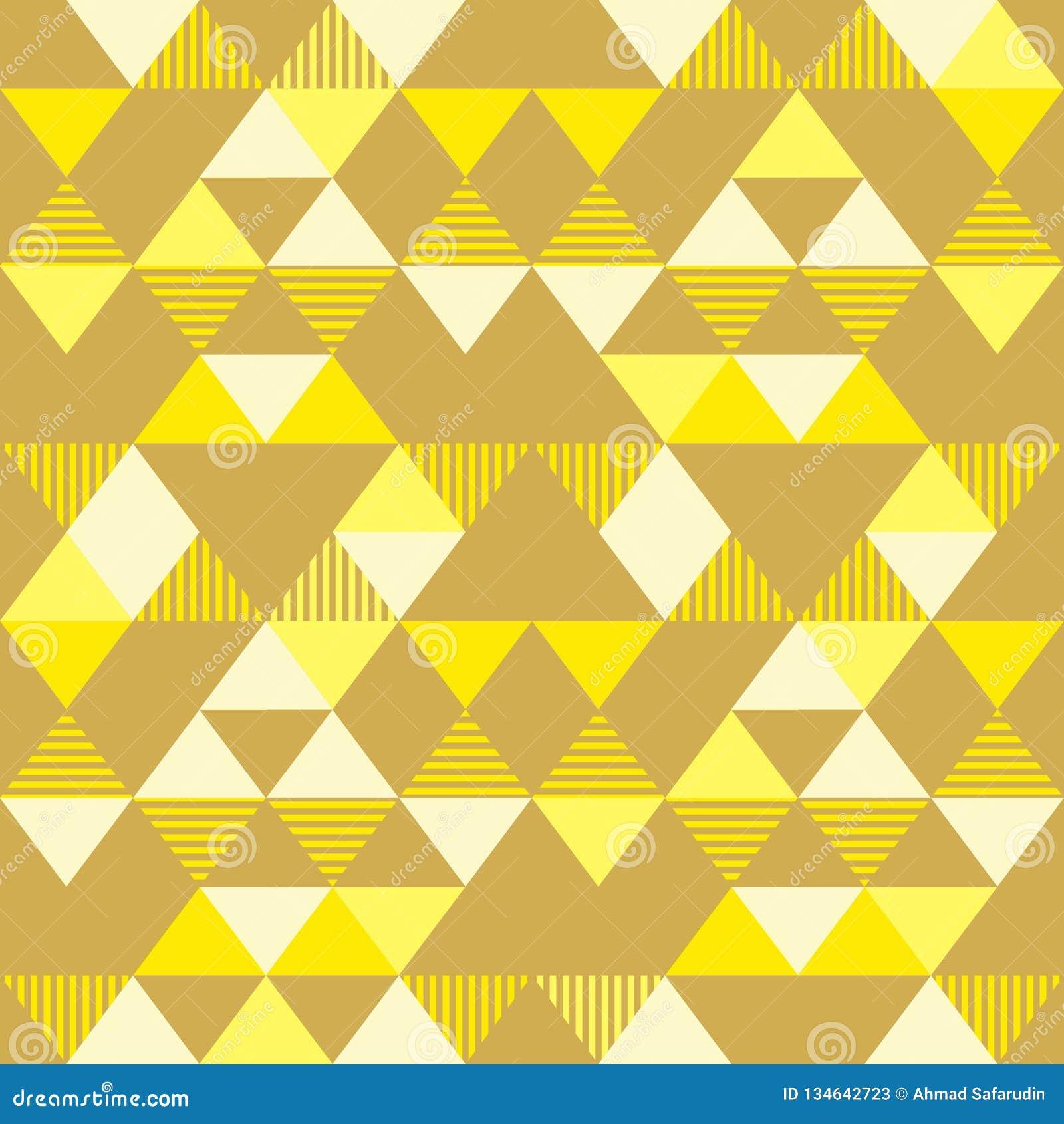 Golden Yellow Seamless Geometric Triangle Pattern Background