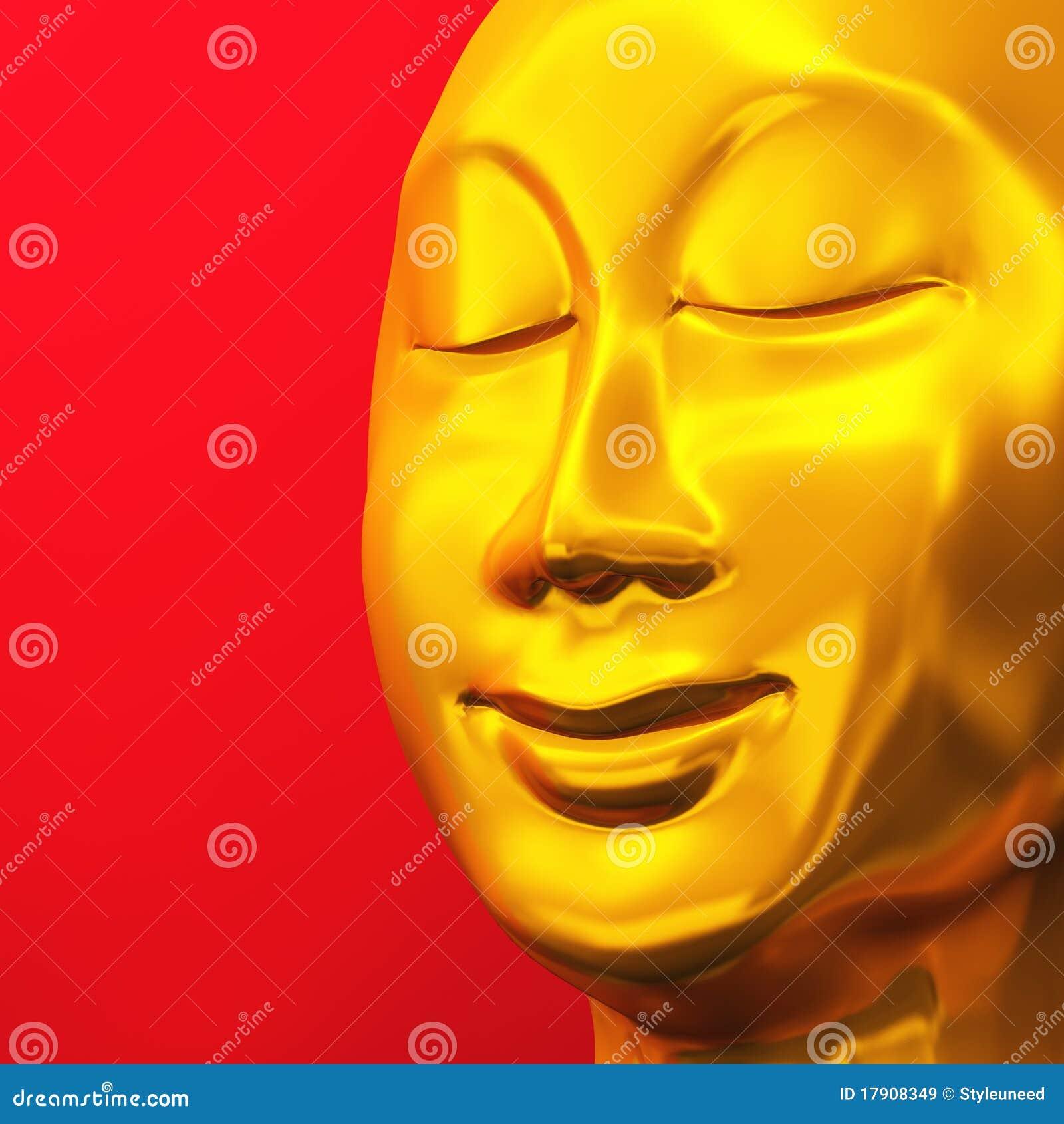 Golden zen buddha face on red 01